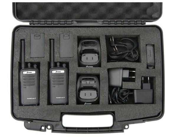Stabo Freetalk Com II prof. PMR446 Handfunkgerät mit 2000 Lithium Ionen Akku-2-er Kofferset