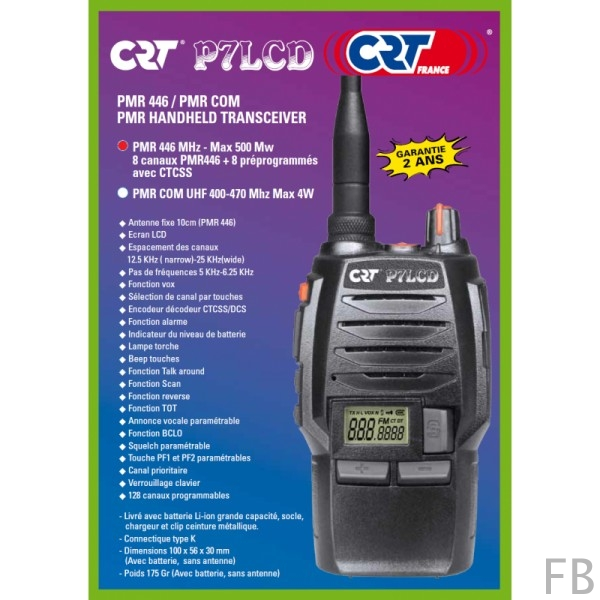 CRT P7LCD PMR446 semi-prf. Handfunkgerät mit 8 Kanälen 0,5 Watt Sendeleistung
