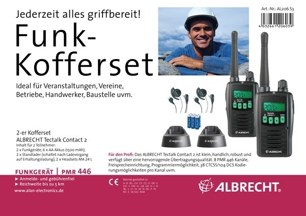 Alan 2.er Kofferset Contact 2 mit MA-24L Mini Headsets im Lieferumfang