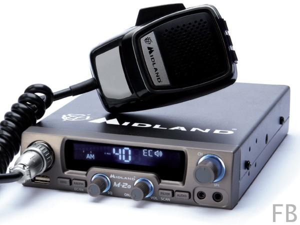 Midland M-20 Multikanalnorm CB-Funkgerät mit USB Anschluß, Up/Down Handmikrofon